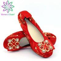 zapatos plegables mujeres al por mayor-Más el tamaño 38-45 zapatos de las mujeres plegables del cuero del ballet Pisos PU de la patente zapatos de primavera y verano señoras de moda de los holgazanes planos rojos
