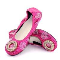 strass fuchsia achat en gros de-Les femmes à la mode fuchsia couvrent les chaussures avec une décoration ronde de style strass dame africaine robe chaussures V240