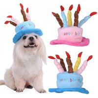 Wholesale cat shaped cake resale online - 1 X Pet Dog Birthday Hat Lovely Pink blue Cake Shape With Candle Pets Cloth Puppy Cats Hat Has Adjust Strap