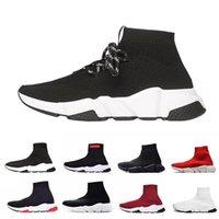 sportmarke schwarz großhandel-Balenciaga Socke Schuhe schnüren Speed Trainer Schwarz Rot Triple Black Brand Fashion Socken Trainer Sport Sneakers