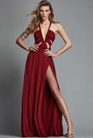 zuhair murad elbise bahar yaz toptan satış-2019 Yeni Zuhair Murad İlkbahar Yaz Abiye Kadınlar Için Benzersiz Tasarım Kırmızı Sıcak Yüksek Yarık Şifon Artı Boyutu Balo Elbise