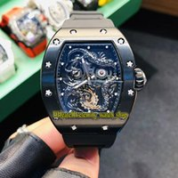 Wholesale best china watches resale online - Best version RM Jackie Chan Skeleton D China Dragon Totem Dial Miyota Automatic RM057 Mens Watch Black Case Rubber Strap Luxury Watches