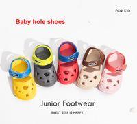 gelbe frühlings-sandalen großhandel-Kinder rutschfeste Sandalen Baby Strandschuhe 1-3 Jahre alte Mädchen Sport Jungen Frühling Sommer gelb, blau, kakifarbig, schwarz rot, rosa Loch Schuhe