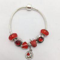 цепочка из кости оптовых-New style red bubble glass  love pendant series women's snake bone chain