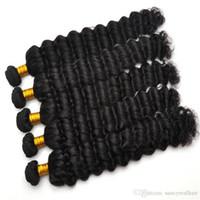 28 parça saç örgüsü toptan satış-Üst Sınıf 12-28 inç Derin Dalga Saç Örgüleri Tam Kafa 100gr parça 3 adet Lot Brezilyalı Dalgalı Saç Doğal İnsan Saç Demetleri, Ücretsiz DHL