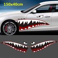 decalques de tubarões venda por atacado-2 pcs diy 150x40 cm pvc tubarão boca dentes die-cut adesivo decalque do carro à prova d 'água auto barco diy decoração adesivo