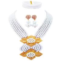 conjuntos de contas brancas para casamento venda por atacado-Adorável Branco Africano Beads Jewelry Set Cristal Frisado Colar Nigrian Nupcial Do Casamento Conjuntos de Jóias 6HLK05