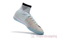 zapatillas de fútbol de interior blanco cr7 al por mayor-2019 original de fútbol blanco CR7 100% botines Mercurial Superfly V IC zapatos de fútbol para interiores Cristiano Ronaldo botas de fútbol de calidad superior