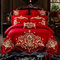 Wholesale oriental bedding resale online - 36Red Wedding Style luxury Gold Oriental Embroidery Cotton Bedding Set Duvet Cover Bed Sheet Bedspread Pillowcase