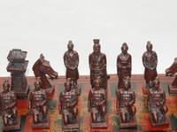grandes peças de xadrez venda por atacado-(32 peças) Elaborar chinês clássico de madeira terracota guerreiros Manual xadrez, com caixa de madeira vermelha (tamanho grande)