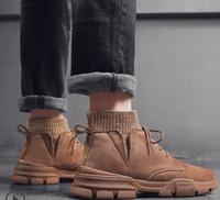 calcanhar venda por atacado-Laureate Plataforma Deserto Bota Sapatas de Grife das Mulheres Camurça Bota Monograma Botas de Lona Moda Casual Chunky Boots