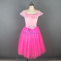 vestido spandex rosa quente venda por atacado-2019 hot pink longo ballet dança tutu para meninas e mulheres bailarina dress trajes de dança dancewear 18582