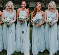 bohemia yeşil elbise toptan satış-2019 Nane Yeşil Şifon Bohemia Uzun Gelinlik Modelleri Halter Kat Uzunluk Düğün Konuk Elbise Hizmetçi Onur Törenlerinde Vestidos De Festa
