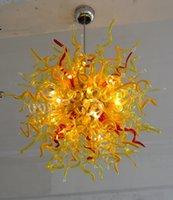 lâmpadas led chinesas venda por atacado-Venda quente AC 110 v / 120 v Art Iluminação de Teto Atacado Mão Moderna Soprado Cristal Lustre Chinês Com Lâmpadas de LED