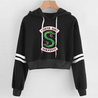 sweatshirt hoodies sale venda por atacado-BTS Mulheres sexy hoodies de alta qualidade RIVERDALE Southside Serpent Imprimir Primavera venda quente casual hoodies camisolas plus size