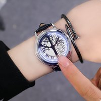 Wholesale soft touch watches resale online - LED Touch Screen Watch Unique Cool Watch with Tree Pattern Simple Black Dial Blue Lights Watch With Soft Black Leather Kids Gifts