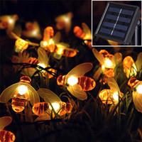 arılar evler toptan satış-Küçük arı güneş ışığı dize açık dekorasyon LED ışıkları ev bahçe Noel dize ışıkları tatil ışıkları