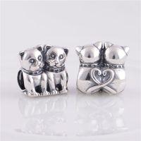 perlas de núcleo de tornillo al por mayor-925 cuentas de plata esterlina fit pandora pulseras joyas auténticos nuevos gatos Core Core Stopper Charm, haciendo DIY con mujeres europeas pulsera