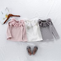 Wholesale long sleeve ruffle bottom shirts resale online - Toddler Blouse Baby Girl Pure Cotton Soft Ruffles Turn Down Collar Long Sleeve White Shirt Basic Bottoming Blouse Clothes m T T200228