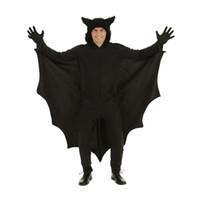 ropa de batman cosplay al por mayor-Niño caliente cosplay animal lindo del palo del traje de Halloween para niños Disfraces para la ropa de las muchachas de la cremallera del mono Negro Conexión de las alas de Batman