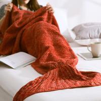Wholesale adult mermaid tail blanket resale online - Mermaid Blanket Handmade Knitted Sleeping Wrap TV Sofa Mermaid Tail Blanket Kids Adult Baby crocheted bag Bedding Throws bag