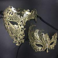 Wholesale metal skull masks for sale - Group buy His Her Couple Glitter Rhinestones Metal Filigree Masquerade Mask Venetian Costume Prom Party Ball Christmas Half Skull Mask