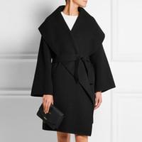 frauen s kaschmir mantel groß großhandel-Neue 2019 Frauen Herbst Winter Einfach Kaschmir lose Large Revers Woolen Long Coat