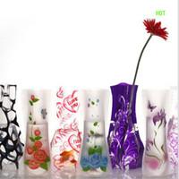 ingrosso vaso pieghevole eco friendly-Nuovo Party Design decorazione del giardino di 12 * 27 centimetri trasparente Eco-friendly pieghevole pieghevole Flower Vase PVC Unbreakable Wedding Decoration riutilizzabile
