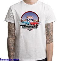 caminhões man venda por atacado-Novo Rota 66 Caminhão Antigo Peças Do Logotipo Dos Homens T-Shirt Branca Tamanho S para 3XL