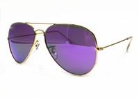 gafas de sol reflectantes moradas al por mayor-2019 top hot sell brand oval Classic Retro Reflective Rlei di Brand Designer UV400 mujeres único mercury Purple lentes sunglass con estuche