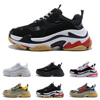 Wholesale red fashion shoes for men online - 2019 Fashion designer Triple s Sneakers for men women black red white green Casual Dad Shoes tennis increasing shoe size