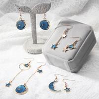 boucles d'oreilles coréen achat en gros de-Japanese Korean Drop Dangle Earrings Fille Coeur Blue Star Moon Planet Boucles d'oreilles Frais Asymétrique Long Goutte Noire Femmes Accessoires De Mode