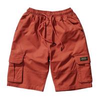 pantalones salvajes de los hombres al por mayor-Verano Nuevo deporte pantalones cortos de natación para hombres Cuerda de color sólido Loose Wild Beach Pants Casual Cinco pantalones