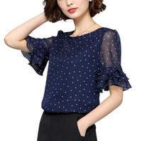 polka topuklu artı boyutu toptan satış-Kadın Bluzlar Yaz Kısa Kollu Şifon Bluz Gömlek Polka Dot Kadın Gömlek Artı boyutu Giyim Bayanlar Tops