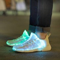 Wholesale fiber optic light up resale online - Luminous Fiber Optic Fabric Light Up Shoes LED Colors Flashing White Adult Girls Boys USB Rechargeable Sneakers with Light Y18110304