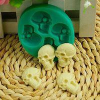 kafatası keki toptan satış-3D Kafatası Silikon Ev Partisi Fondant Kek Kalıp Çikolata Cadılar Bayramı Partisi DIY Araçları