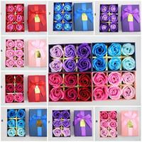 ingrosso set di sapone fatto a mano-Hot Simulazione gradiente creativo Rose Soap Flower 6pcs / set Compleanno San Valentino Regalo fatto a mano Petali Decor