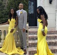 Wholesale red dress ruffle v neck for sale - 2019 Deep V Neck Sexy Prom Dress Gown Mermaid Yellow Formal Dresses for Black Girls Open Back Graduation Gowns BC1374