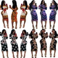 ingrosso collant di stampa leopardo delle donne-Stampa a righe Leopard Dress For Women Summer Skirt Tight Maniche lunghe Abiti Multi colori Fashion Bardian Popular 28mz D1