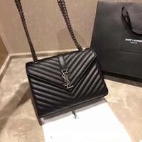 Wholesale fashion handbags channel resale online - High Quality Fashion black Women s Handbag Leather Bag chain Shoulder Bag Brand Designer size cm Flip Body Bag