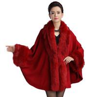 kaschmir poncho großhandel-Womens Luxus Braut Kunstpelz Kaschmir Wolle Poncho Schal Mantel Cape Winter Fell Cover Up Coat Wrap