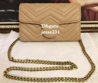 goldkörperketten großhandel-Hohe Qualität Berühmte Designer Umhängetasche Pu Leder Mode Gold Kette Tasche Cross Body reine Farbe weibliche Frauen Handtasche Umhängetasche