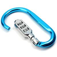 kilitli kanca anahtarlık toptan satış-Alaşım Kilit Karabinalar-Karabina Kanca Toka Klip Anahtarlık Anahtar Tutucu ile 3 Haneli Şifreli Kilit Kamp Yürüyüş Halat Tırmanma için