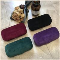 fall rote farbe groihandel-Neue Biene Glaskasten Farbe Wildleder Brillenetui Marke rot grün Sonnenbrille Tasche Tuch 4 Farben