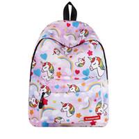 sevimli dizüstü sırt çantaları toptan satış-6 Stilleri Hafif Seyahat Çantası 3D Unicorn Baskı Öğrenci Sırt Çantası Genç Kız Çocuklar için Laptop Bookbag Çocuk Sevimli Okul Sırt Çantaları M196F