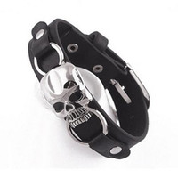 encantos de pulseiras venda por atacado-Atacado-Men Fashion Faux Leather Bracelet Punk Cuff Skull Wristband Jewelry Charms Store 50