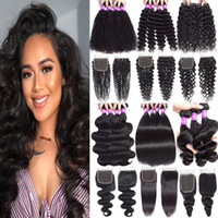 9A Peruvian Virgin Hair Bundles With Closure Extension Unprocessed Deep Wave Kinky Curly Human Hair Bundles With Lace Closure 4x4 Hair Weave