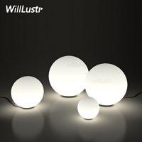 beyaz masa lambaları yatak odası toptan satış-Modern LED Masa Lambası yuvarlak top küre aydınlatma buzlu süt beyaz abajur masa lambası cam bilye cam difüzör başucu yatak odası lambası