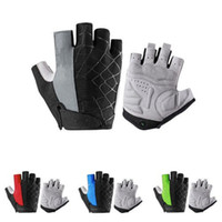 Wholesale red cycling shorts men resale online - Cycling Bike Half Short Finger Gloves Shockproof Breathable MTB Road Bicycle Gloves Men Women Sports Cycling Equipment LJJZ111