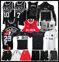camisa x s venda por atacado-2019 PSG Paris Basquete Jersey 23 Michael JD MBAPPE Paris Basquete Camisas PSG X AJ Basquete Jordam Paris Saint Camisa de Futebol Maillot